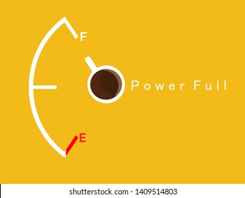 Coffee cup and fuel gauge or fuel meter on the grass ; caffeine in coffee helps keep the body awake. Power full concept.