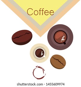 Coffee cup, coffee grains, breakfast concept. Drinks menu for restaurant, vector background.