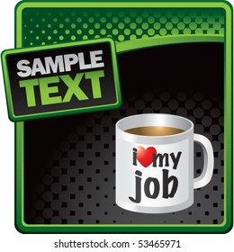coffee cup green and black halftone template