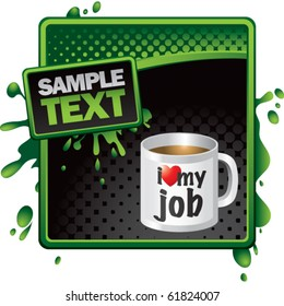 coffee cup green and black halftone splattered template