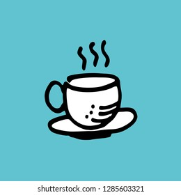 Coffee. Cup Hand Drawn. Cafe Illustration. Rough Sketch. Icon Vector. Eps 10.