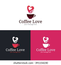 Coffee cup with heart shaped steam icon. Logo template. Vector illustration.