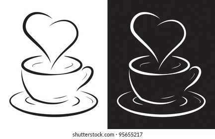 Coffee cup with heart symbol isolated on white, vector illustration.
