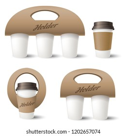 Coffee cup holder. Takeaway coffee box template design, vector paper carrying holder or container isolated on white background