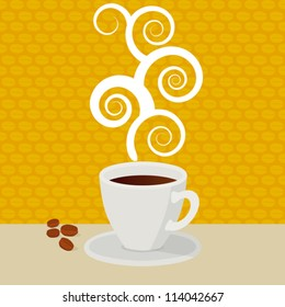 Coffee. Coffee cup hot, vector illustration