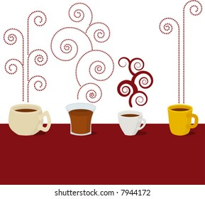Coffee cup hot, vector illustration