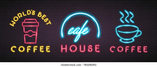 Coffee Cup House Neon Light Glowing Signs Sets Graphic Vector Illustration