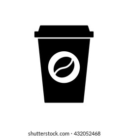 Coffee cup icon. Black icon isolated on white background. Coffee cup silhouette. Simple icon. Web site page and mobile app design vector element.