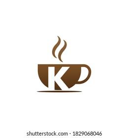 Coffee cup icon design letter K  logo concept