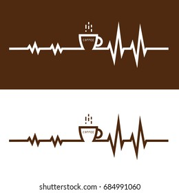 Coffee cup icon and electrocardiography icon vector logo design template. Electrocardiography before and after coffee break concept.vector illustration