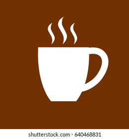 Coffee cup icon. Flat design. Vector illustration. Brown and white.