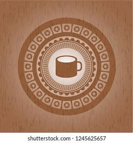 coffee cup icon inside wood emblem. Vintage.