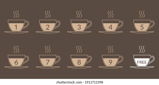 Coffee cup icon set for loyalty card design. Buy 9 cups and get 1 for free. Cafe beverage, hot drink promotion concept. Vector illustration.