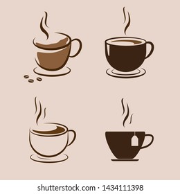 Coffee cup icon set. Vector illustration.