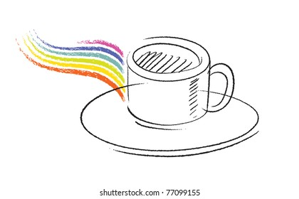 coffee cup icon, simple freehand drawing, vector