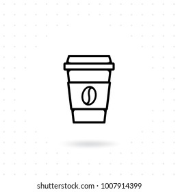Coffee cup icon. Take away coffee cup icon. Disposable cup vector illustration. Coffee to go icon on white background. Coffee cup icon with bean symbol in flat line style