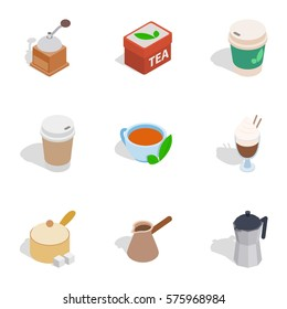 Coffee cup icons set. Isometric 3d illustration of 9 coffee cup vector icons logo isolated on white background