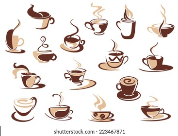 Coffee cup icons in shades of brown with doodle sketches of steaming cups of coffee, cappuccino and espresso