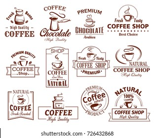 Coffee cup icons template for coffeeshop of coffeehouse and cafeteria. Vector set of coffee makers, hot chocolate, strong espresso or americano steam, turkish cezve and coffee grinder for cafe design