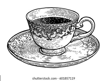 Coffee cup illustration, drawing, engraving, ink, line art, vector