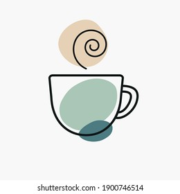 Coffee cup illustration, three-color icon. Relaxation, drink concept for branding, website elements, logo