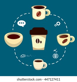 Coffee cup. Info graphic illustration. Vector cartoon coffee cup. Morning coffee.