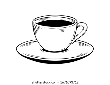 coffee cup, ink style, graphic or sketch  style hand-drawn vector illustration.