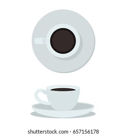Coffee cup isolated on white background. Top view and side view white coffee cup. Coffee cup vector illustration