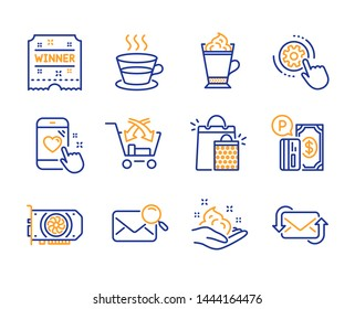 Coffee cup, Latte coffee and Heart rating icons simple set. Search mail, Skin care and Winner ticket signs. Parking payment, Gpu and Cogwheel settings symbols. Line coffee cup icon. Colorful set