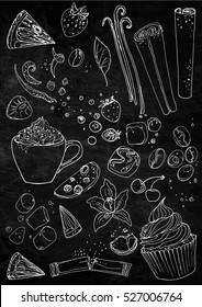 Coffee cup line drawing on a black background. Drink and sweets. Vector image of breakfast. Cup of coffee top view, bun, plate, napkin.