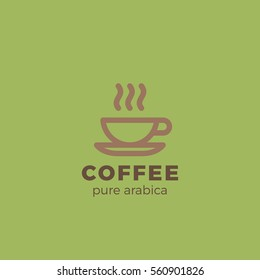 Coffee cup Logo design vector template Linear style.