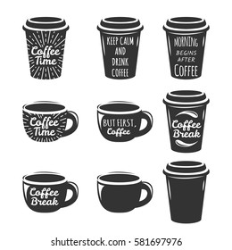 Coffee cup logo set. Lettering concept. Coffee cup icon. Cafe, Restorant sign, label. Coffee letters.
