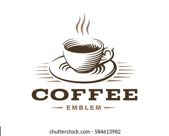 Coffee cup logo - vector illustration, emblem design on white background.