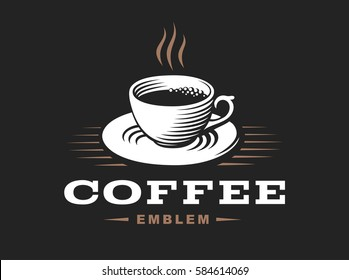 Coffee cup logo - vector illustration, emblem design on black background.