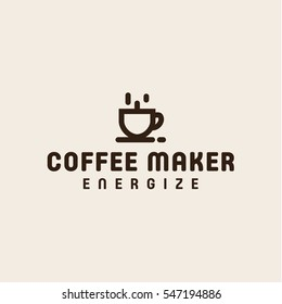 coffee cup coffee maker in minimalism vector logo design linear style art