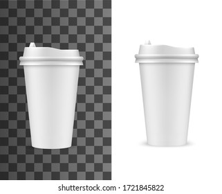 Coffee cup mockup, fast food drink paper cup with plastic lid, vector realistic template. Fastfood cafe takeaway plastic or paper coffee cup, blank white hot drinks package with sipping lid