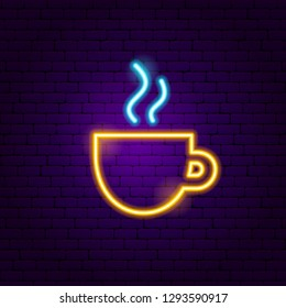 Coffee Cup Neon Sign. Vector Illustration of Cafe Promotion.