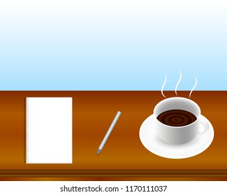 Coffee cup, notebook and silver pen on wooden table. Business and school background concept. Vector eps 10. Empty space for the text.