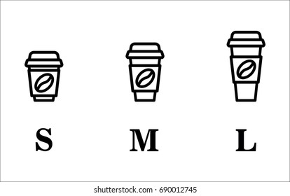 Coffee cup on the go. Coffee cups of different sizes. Vector icon set.