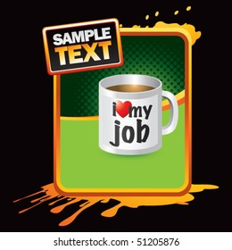 coffee cup orange splattered template