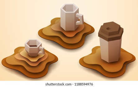 Coffee cup in paper cut style. Concept colorful handmade design for background cover, poster, flyer in isometric view. Vector illustration.