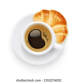 Coffee cup and plate. Croissant and aromatic drink for breakfast. Beverage mug for cappuccino, americano, latte. Isolated white background. Eps10 vector illustration.