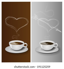 Coffee cup with realistic smoke heart, vector illustration