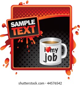 coffee cup red and black halftone grungy ad