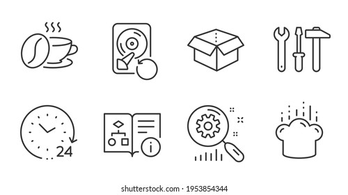 Coffee cup, Search statistics and Open box line icons set. Recovery hdd, Cooking hat and Spanner tool signs. 24 hours, Technical algorithm symbols. Roasted bean, Analysis, Delivery package. Vector