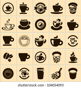 Coffee cup set. Tea cup. Vector icon collection.