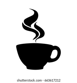 Coffee cup silhouette, sign or icon with abstract flame-like steam