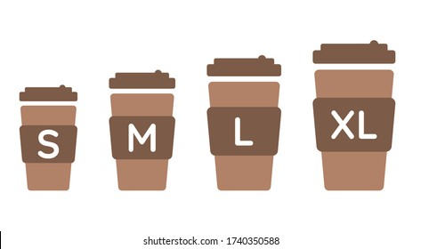 Coffee cup size S M L XL. Vector colored illustration set