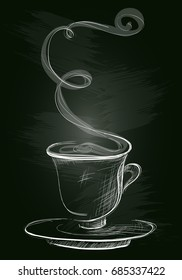 Coffee cup in a sketch style