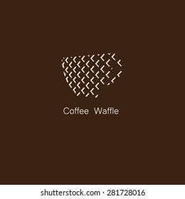 Coffee cup with square perspective logo vector.